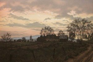 Kathleen Cantin Etching of a farm at dusk