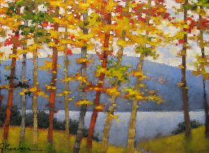 Jeff Koehn - Fall Landscape - Painting of yellow trees and distant mountains