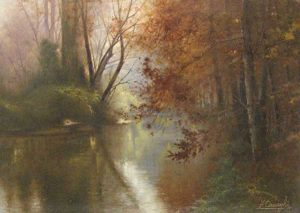 Fortunato Ornaghi painting Fall Landscape pond with trees