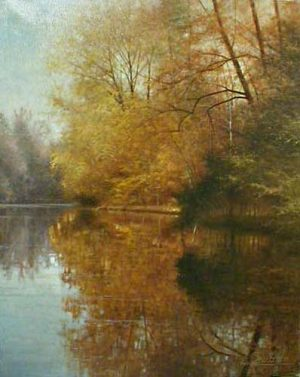 Fortunato Ornaghi Oil Painting of Fall Trees Reflected on River