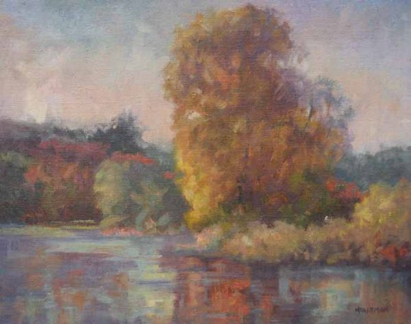 Painting of a tree on the water