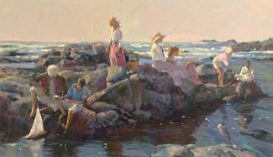 Don Hatfield - Family Outing print of group of people on rocks on beach