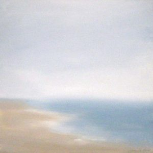 Dannielle Mick Contemporary Seascape Painting in Blues and Whites with Beige Sand