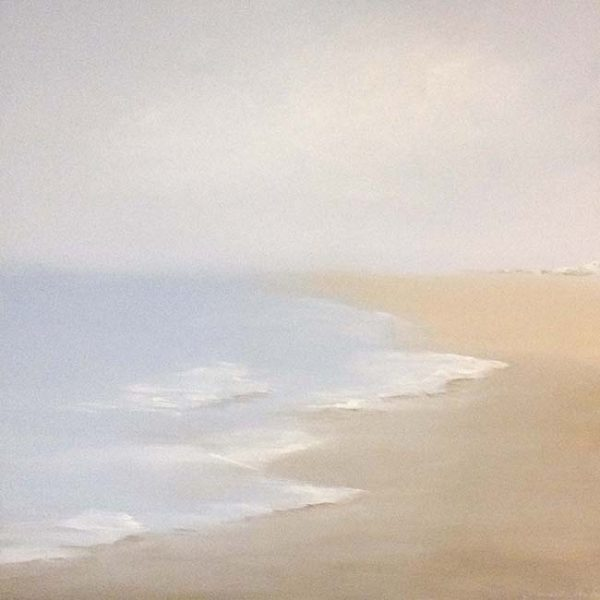 Danielle Mick Contemporary Oil on Canvas of Waves on the Beach Pastel Periwinkle Blue Beige