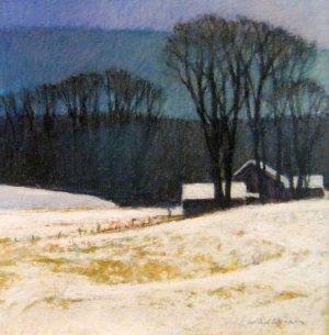 Sandy Wadlington Pastel of Mountain Farm House in Snow