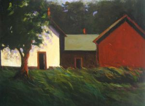 Karen Jones Oil Painting of Red Farmhouse with Green Tree