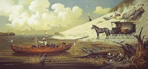 Charles Wysocki - Feathered Critics print of artist sitting in boat off beach