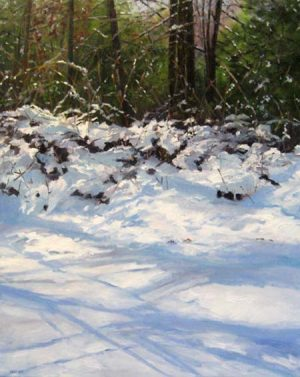 Barbara Levine - February Forsythia - Painting of trees and snow