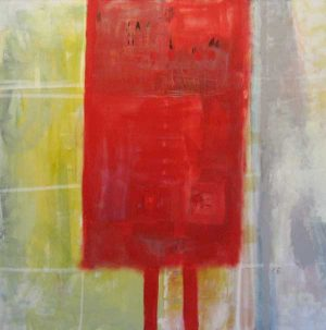 Red Abstract painting of a structure with legs by artist Carolyn Evans