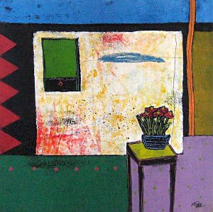 Mamie Joe Rayburn Small Painting Abstract Still Life of Flowers on Table in Room of House