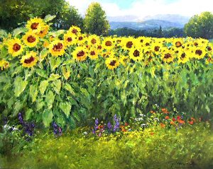Gerhard Nesvadba - Sunflower Field painting with wildflowers and mountains and trees in the background