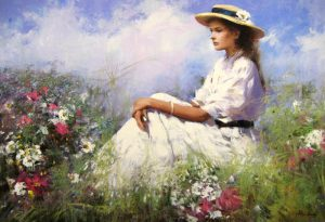 An He Hans Amis Field of Wild Flowers with Woman in Hat Sitting in Grass