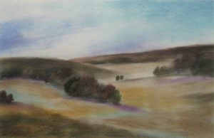Painting of a hilly landscape