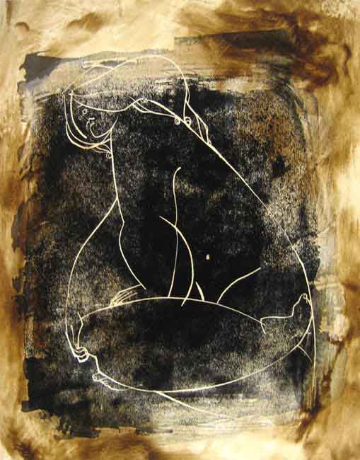 Jinous Kani Oil Painting of Figure Line Drawing in Black White and Brown