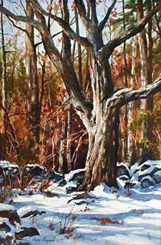 Gary Shepard - First Snow watercolor painting of snowy woods