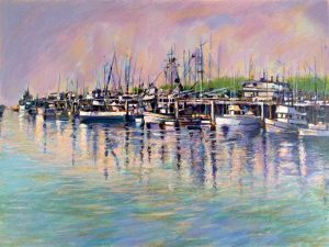 Aldo Luongo - Fishing Harbor print of boats floating in a harbor