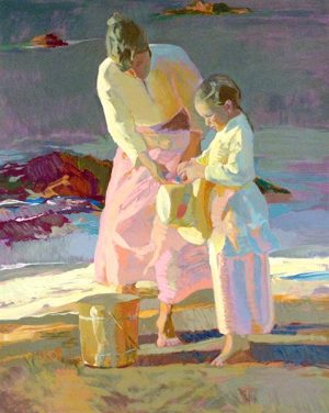 Don Hatfield - Fixing the Ribbon print of a mother helping her daughter with a hat on the beach