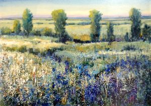 Timothy OToole Landscape Blue Wild Flowers with Green Trees and Hills