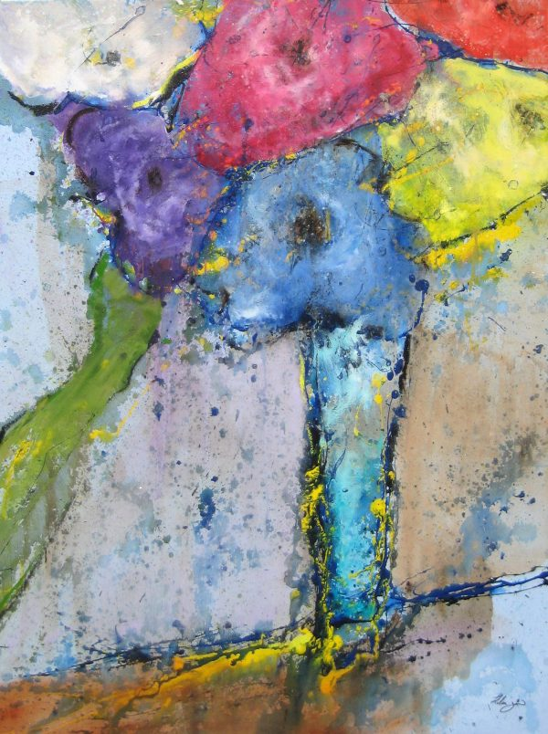 Helen Zarin Abstract Contemporary Floral Still Life Painting with Pink Purple Blue Flowers in Vase