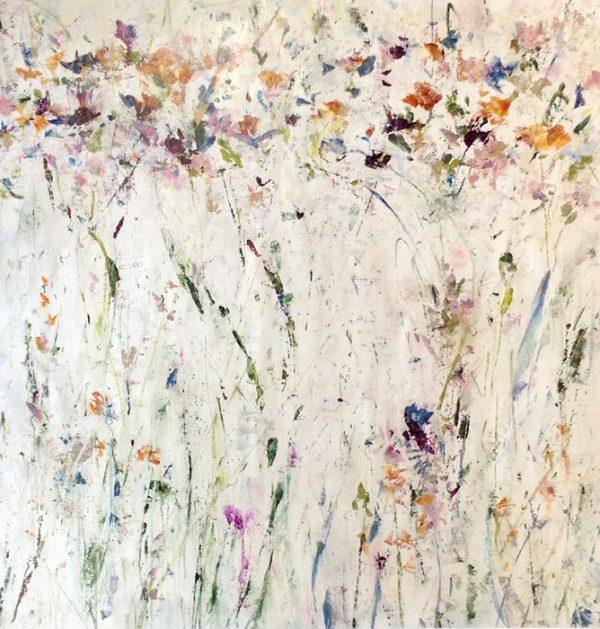 Jodi Maas Contemporary Oil on Canvas of Wild Flowers Abstract in Green Purple Orange Ochre Pink
