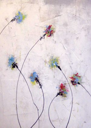Joshua Shicker Abstract Floral with Bending Stems in Blue Red and Green on White