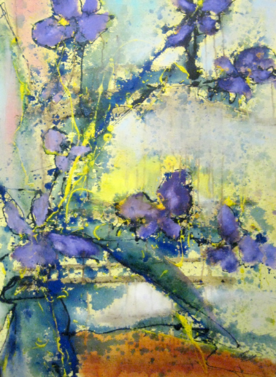 Helen Zarin Floral Purple Painting with Yellow Green Blue and Orange Still Life