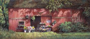 Paul Landry - Flower Barn print of old red barn with flowers at door