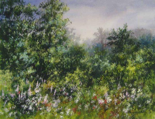 Flower Garden (15x19 watercolor on board)