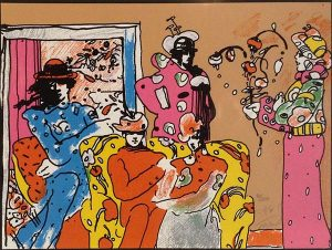 Peter Max - Flower Garden print of clowns on a flowery couch