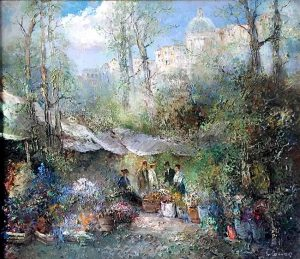 Willi Bauer Traditional Painting of a European flower market