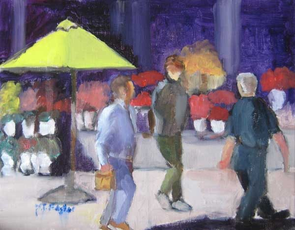Pat Foster Contemporary Oil Painting of Umbrella Table at Market Cafe Scene