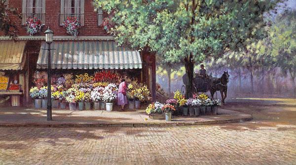 Paul Landry - Flowers for Mary Hope print of cobblestone street with flower market