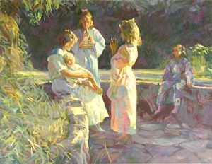 Don Hatfield - Flute Players print of two girls playing flutes for woman, baby, and another girl