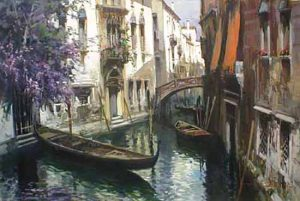 Claudio Simonetti oil painting of venice canal italy