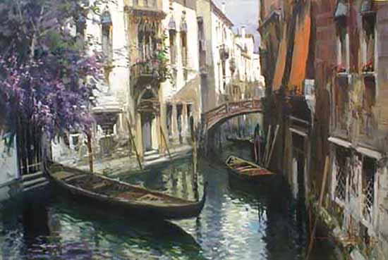Claudio Simonetti oil painting of venice canal italy