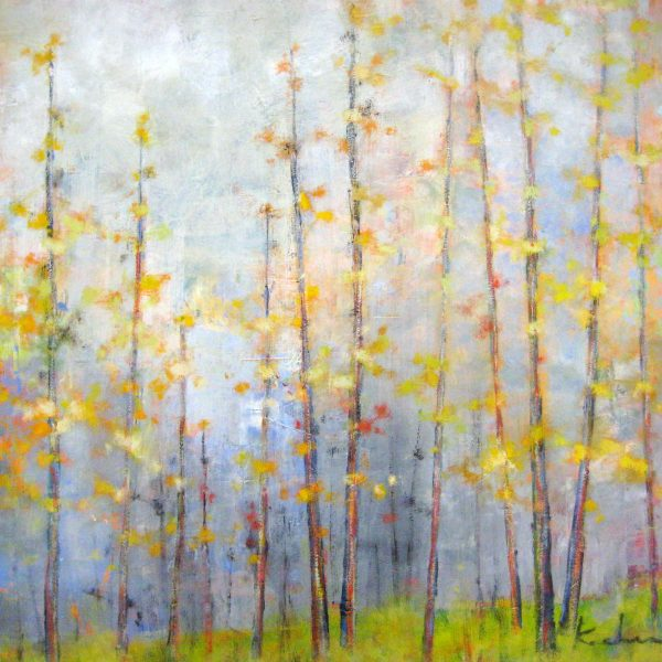 Jeff Koehn Oil Painting of Yellow and Orange Autumn Trees in A Forest