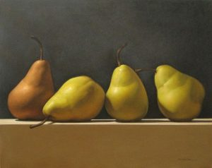J R Newton painting of four yellow pears
