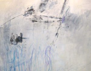Jodi Maas Large Contemporary Oil Painting with Lavender Blue White and Gray