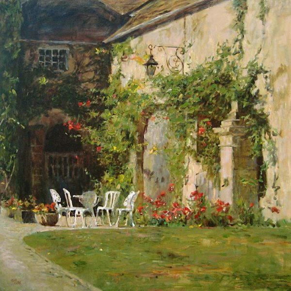 Leonard Wren French Courtyard print of table and chairs outside stately home