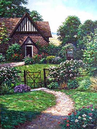 Henry Peeters - Friar's Wood painting of old cottage with garden