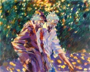 Aldo Luongo - Friendly Walks serigraph of two men walking through sun dappled trees