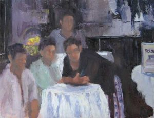 Pat Foster - Friends - Painting of people at a restaurant