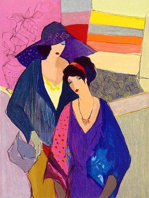 Itzchak Tarkay - Friendship print of two women walking together