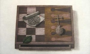 K.B. Hwang Mezzotint of Gameboard on Paper with Leaf and Compass