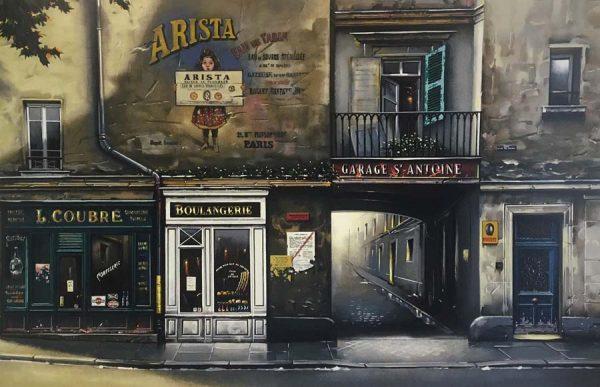 Thomas Pradzynski - Garage St Antoine serigraph of french street scene with buildings
