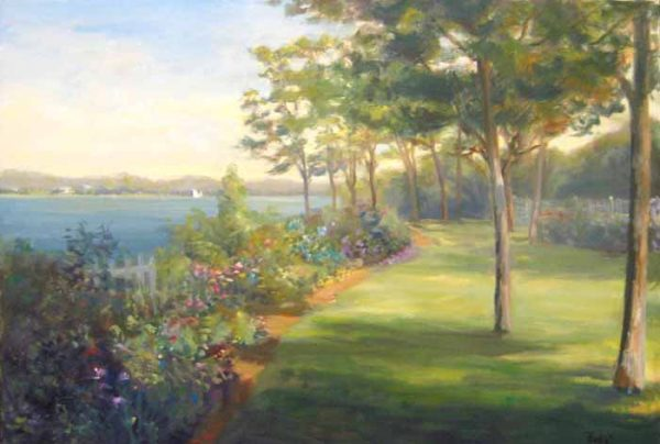 Celia Judge oil painting of a harbor with trees and flowers