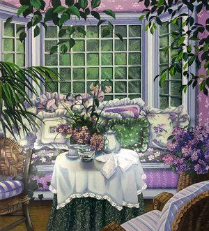 Susan Rios - Garden Room (33x30 serigraph on paper)
