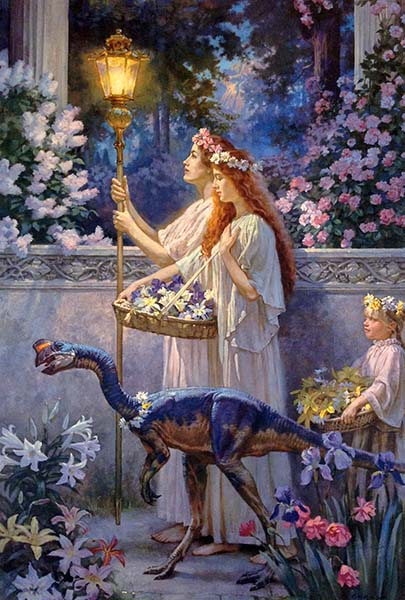 James Gurney - Garden of Hope print of three girls and a small dinosaur walking among flowers at night