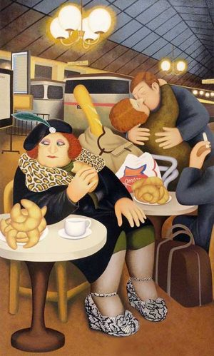 Beryl Cook - Gare du Nord print of woman eating a croissant and a couple kissing in French train station