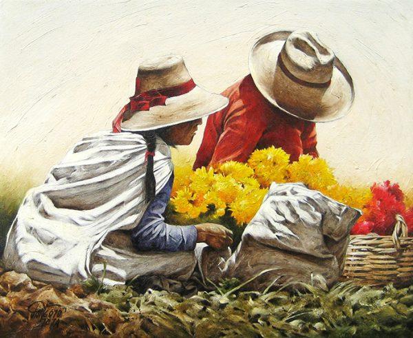 Luis Pantigozo Oil Painting of Two Figures Harvesting Flowers